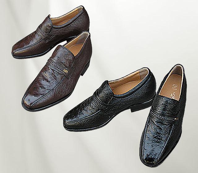 背が高くなる靴・No.66〈オーストリッチ革・スワローモカ〉