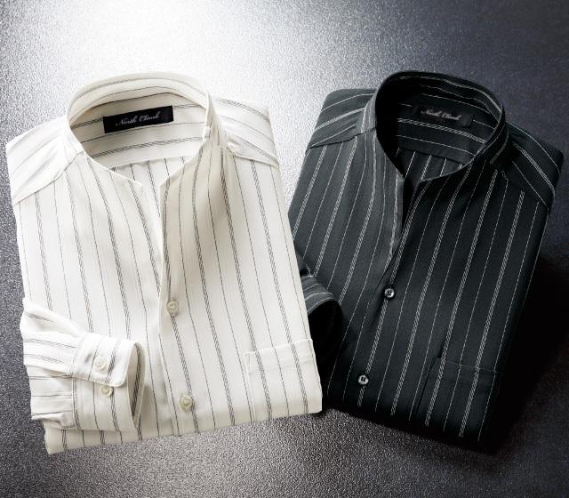 衿変化ストライプシャツ