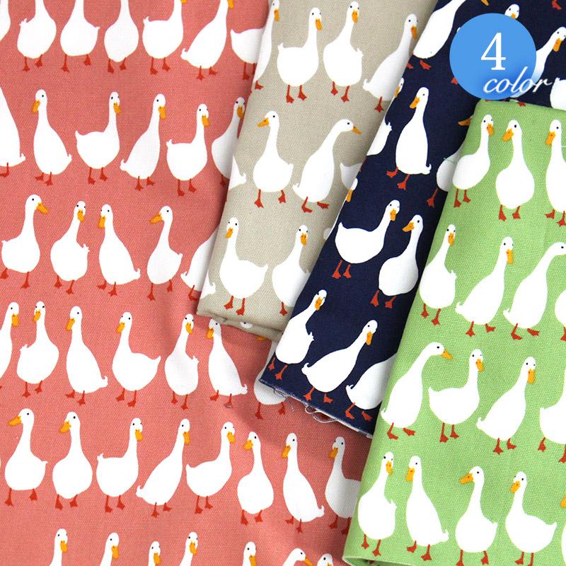 【メール便2mまで】アヒル柄オックス生地(1126) | プリント 雑貨 インテリア コットン 綿 100% duck DIY エプロン 鳥 メール便OK