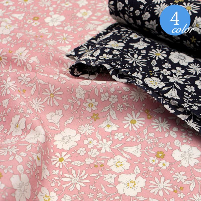 【メール便2mまで】ロマンティックフラワーローン生地(8301) | 手作り 洋服 雑貨 メール便OK