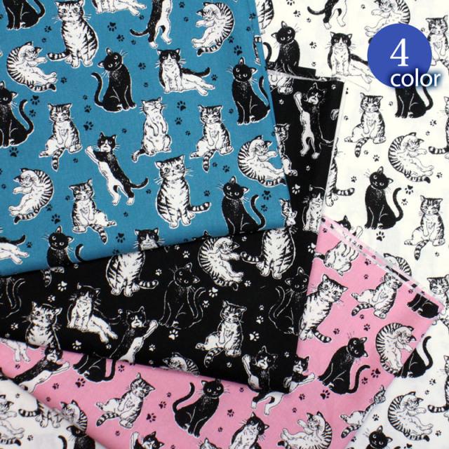 【メール便2mまで】ねこがいっぱいシーチング生地(1584)|ネコ/猫/動物/どうぶつ/アニマル/可愛い/かわいい/可愛い/綿/コットン/女の子/男の子