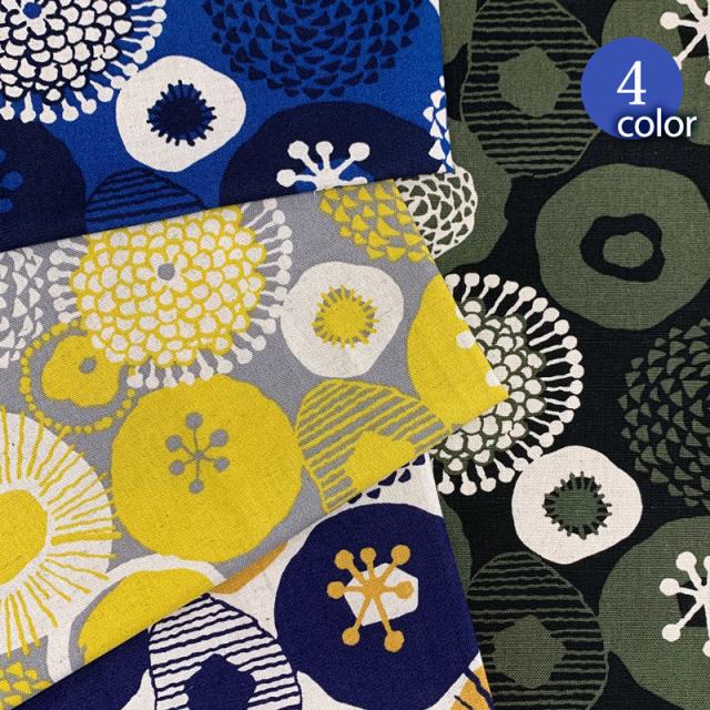 【メール便2mまで】北欧風まるいお花柄綿麻キャンバス生地(1593)   北欧,う早子の布,インクブルー,かわいい,フラワー,コットンリネン,おしゃれ