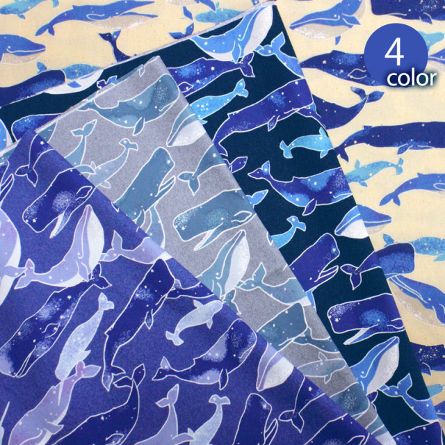 【メール便2mまで】Newスプラッシュホエールオックス生地(1605) | くじら/クジラ/ 鯨/海/生地/布地/服地/キッズ/ハンドメイド/手作り/メール便OK