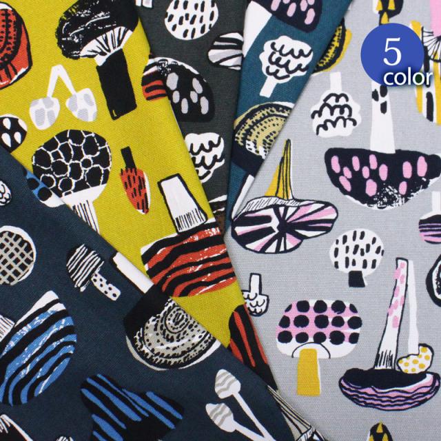 【メール便1.5mまで】北欧風ふしぎなきのこオックス生地(1633) キノコ,北欧,アンティーク,毒,ダーク,おしゃれ,かわいい,レトロ,ファブリック,ファブリックパネル