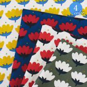 【メール便2mまで】ル・デパール〈LE DEPART〉北欧風トゥリッパ 綿麻生地(1281)[花 フラワー チューリップ 北欧 かわいい 素敵 おしゃれ ハンドメイド 手作り ポーチ カバー 雑貨 生地 麻 リネン 綿 コットン  ] メール便OK