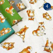 【メール便2mまで】柴犬とわたし綿麻キャンバス生地(1551)|柴犬 イヌ いぬ 動物 手作り かわいい 小物 雑貨 リネン メール便OK