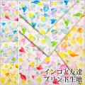 水彩タッチ インコと友達プリント生地(1108)【メール便対応可能/2mまで】