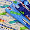 【メール便2mまで】レール ウェイ ステーション オックス生地(1233)| 男の子 かっこいい 電車 新幹線 乗り物 レッスンバッグ 巾着 保育園 入園 入学 通園 綿100%
