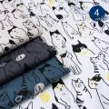 【メール便2mまで】こっちを見てるネコ綿麻キャンバス生地(1542)|猫 ねこ 動物 手作り かわいい 小物 雑貨 リネン コットンリネン 綿麻 メール便OK
