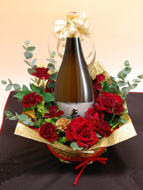 岡山の地酒 花束ラッピング名入れラベル酒