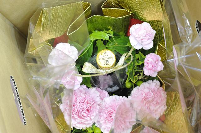 母の日花束ラッピング2018 板野酒造場