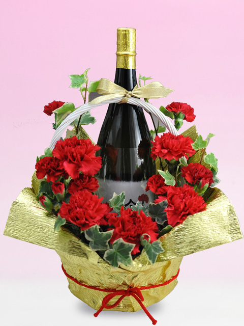 母の日真っ赤なカーネーション花束ラッピング名前・メッセージ入りラベル酒 1800