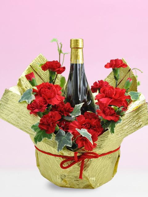 母の日真っ赤なカーネーション花束ラッピング名前・メッセージ入りラベル酒 720