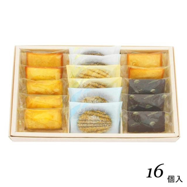 フィナンシェアソート 16個入(フィナンシェプレーン3、レモン4、チョコ3・リーフパイカフェ、プレーン、ミルクティ各2)