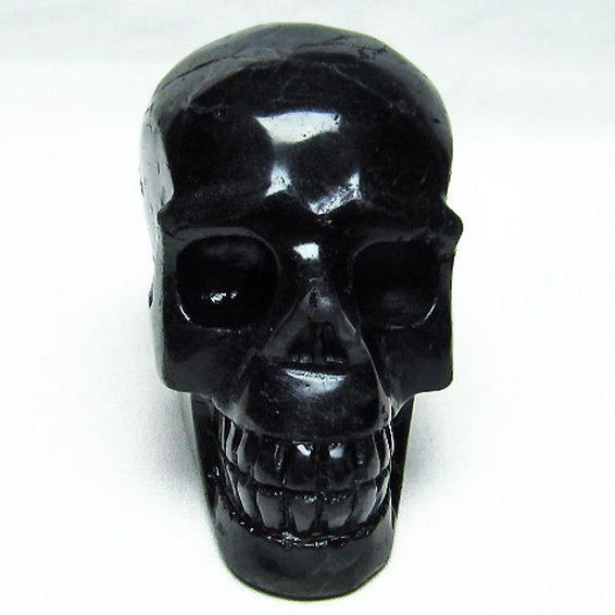 モリオン 純天然 黒水晶 ドクロ 骸骨 スカル 置物[T130-1963]