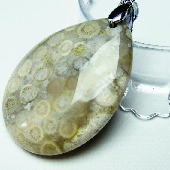 フォッシルコーラル ペンダント 化石珊瑚 [T155-1176]
