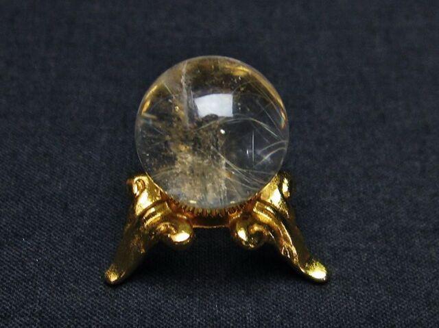 虹入りルチル入り水晶丸玉16mm