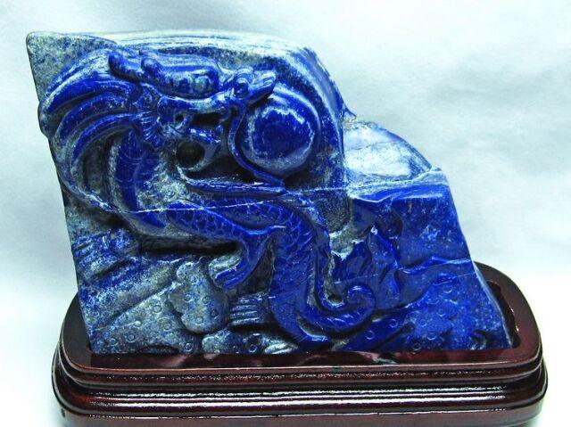 4Kg ラピスラズリ手彫り龍置物