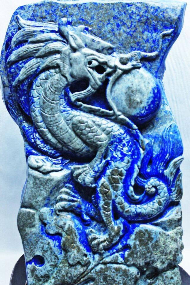 7.6Kg ラピスラズリ手彫り龍置物