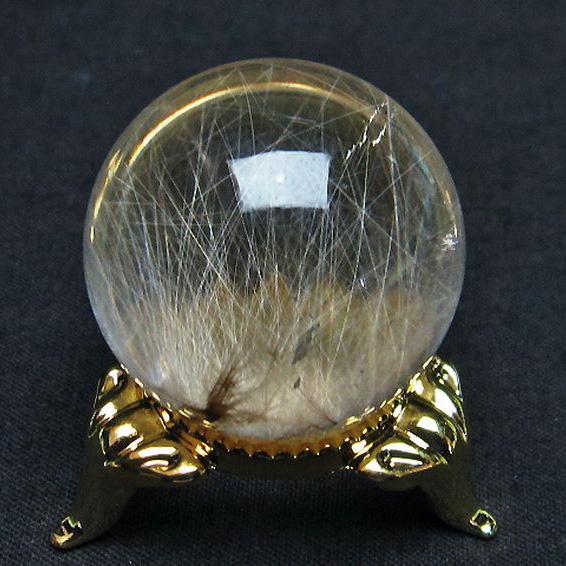 放射金針ルチル水晶丸玉28mm[T637-4017]