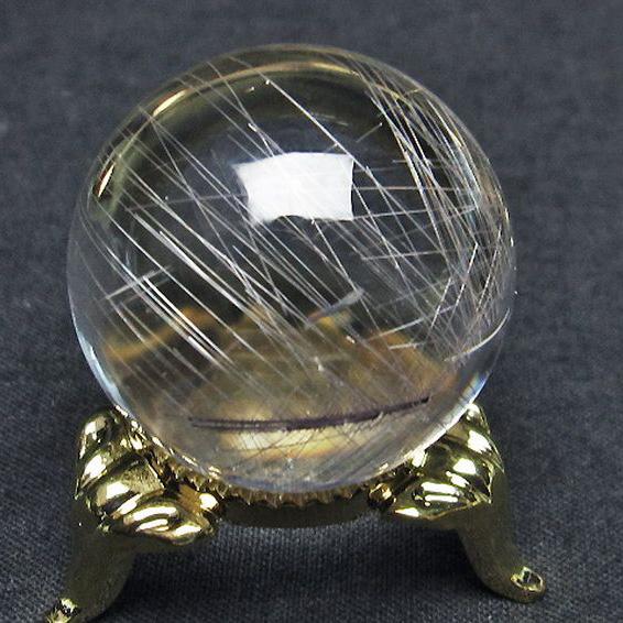 ガーデン水晶放射プラチナ入水晶丸玉29mm[T637-4033]