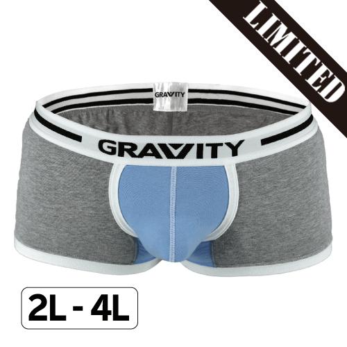 【数量限定】大きいサイズ メンズ GRAVITY コットンミドルボクサー グレー×ライトブルー