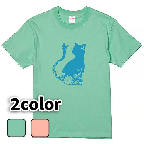 Tシャツ 半袖 大きいサイズ 5.6オンス 猫と蝶と花/L 2L 3L 4L