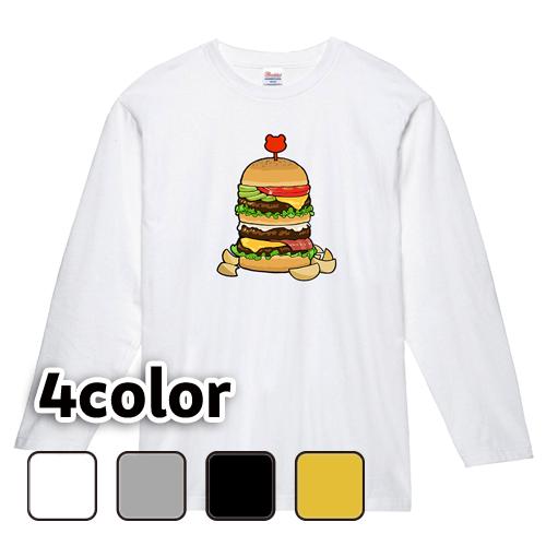 大きいサイズ メンズ ロンT 長袖Tシャツ メガバーガー / L 2L 3L 4L