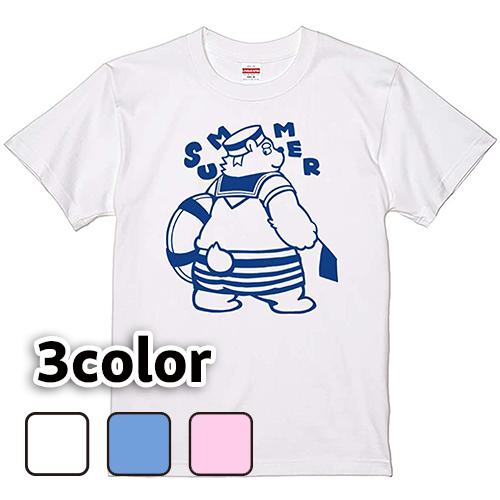 Tシャツ 半袖 大きいサイズ 5.6オンス くまの水兵さん(モノクロ)/L 2L 3L 4L 翌日発送可