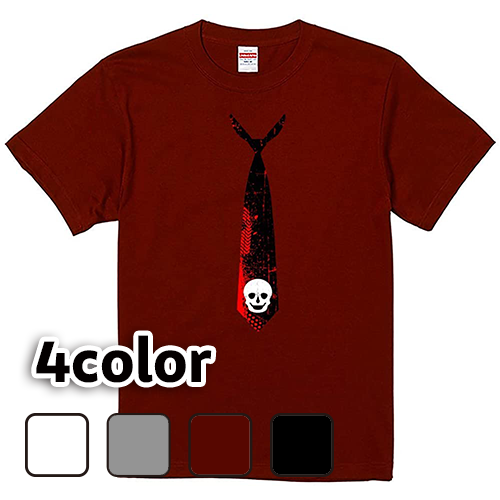 Tシャツ 半袖 大きいサイズ 5.6オンス スカルネクタイ/L 2L 3L 4L 5L 6L 7L/キングサイズ 翌日発送可