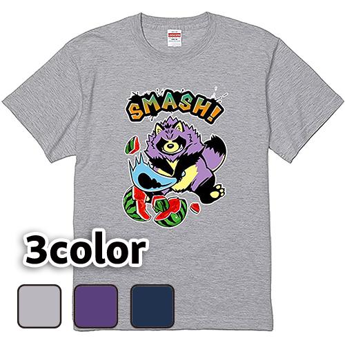Tシャツ 半袖 大きいサイズ 5.6オンス たぬきSMASH!/L 2L 3L 4L 5L 6L 7L/キングサイズ 翌日発送可