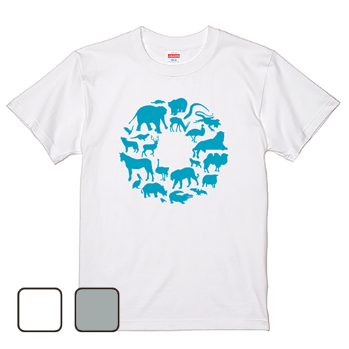Tシャツ 半袖 大きいサイズ 5.6オンス ANIMAL CIRCLE/L 2L 3L 4L 5L 6L 7L/キングサイズ 翌日発送可
