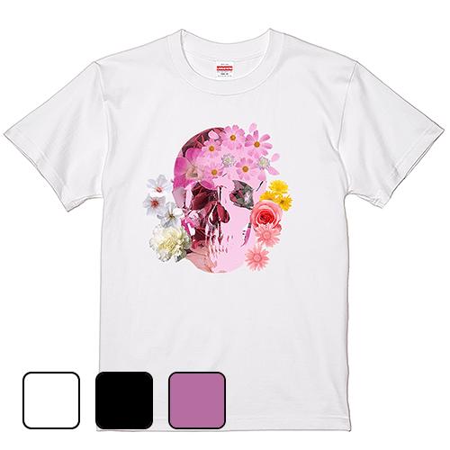 大きいサイズ メンズ Tシャツ 半袖 スカルフラワー / S M L 2L 3L 4L