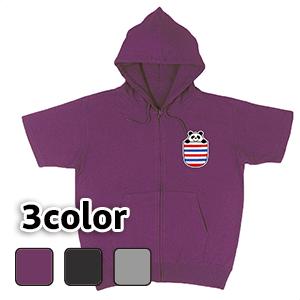 大きいサイズ メンズ 半袖ジップパーカー ポケットパンダ(ポケット風プリント) / S M L 2L 3L 4L