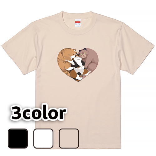 Tシャツ 半袖 大きいサイズ 5.6オンス ねこハート/L 2L 3L 4L 5L 6L 7L/キングサイズ 翌日発送可