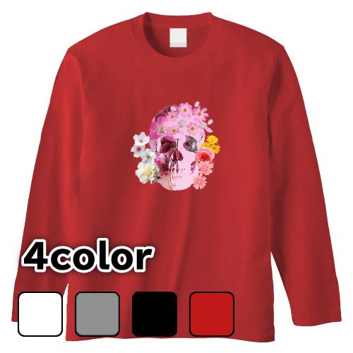 大きいサイズ メンズ ロンT 長袖Tシャツ スカルフラワー / L 2L 3L 4L
