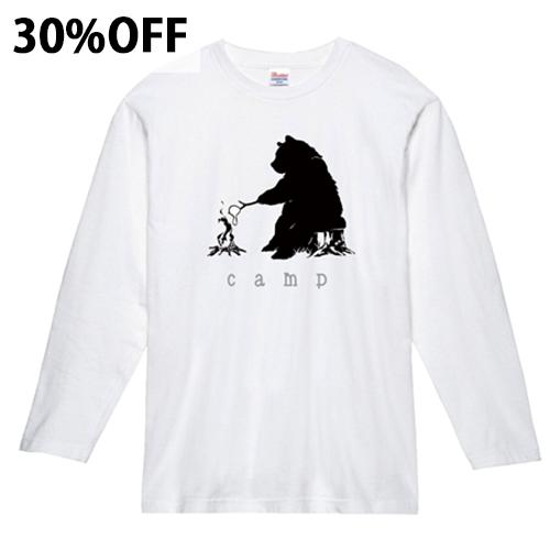 【30%OFF/数量限定】大きいサイズ メンズ ロンT 長袖Tシャツ ベアキャンプ(マシュマロ) / S L XL 2XL 3XL
