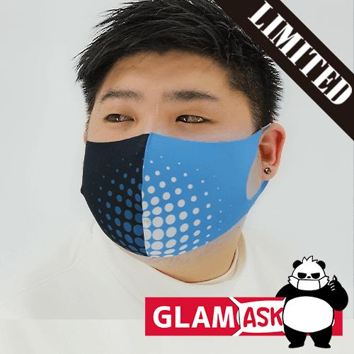 【数量限定】布マスク オリジナル ブルー×ブラック ドット柄/翌日発送可