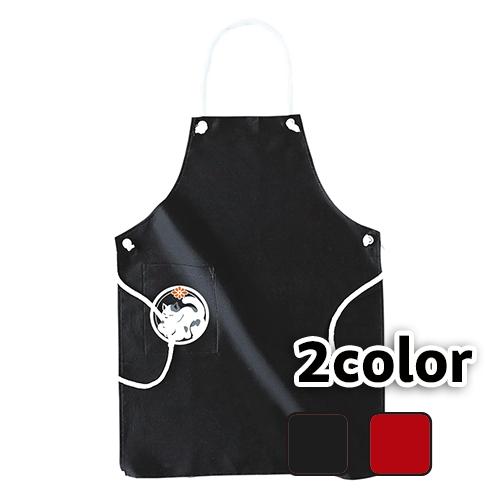 エプロン 眠り猫/ ブラック レッド