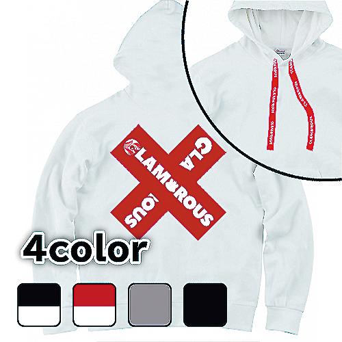 大きいサイズ メンズ パーカー GLAMOROUS Cross Box Logo BB / S M L 2L 3L 4L 5L