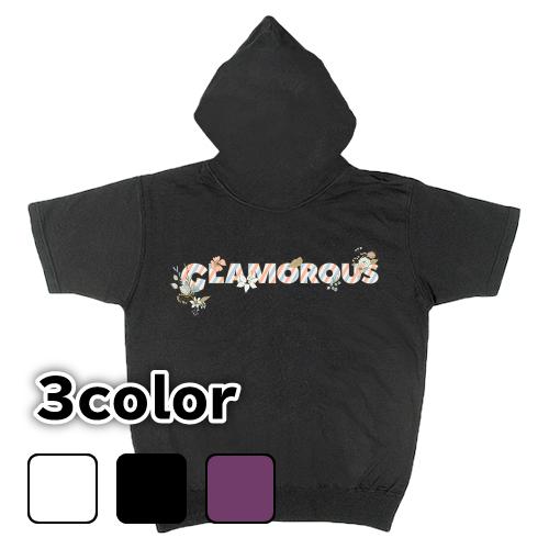 大きいサイズ メンズ 半袖ジップパーカー GLAMOROUS Flower Logo / S M L 2L 3L 4L