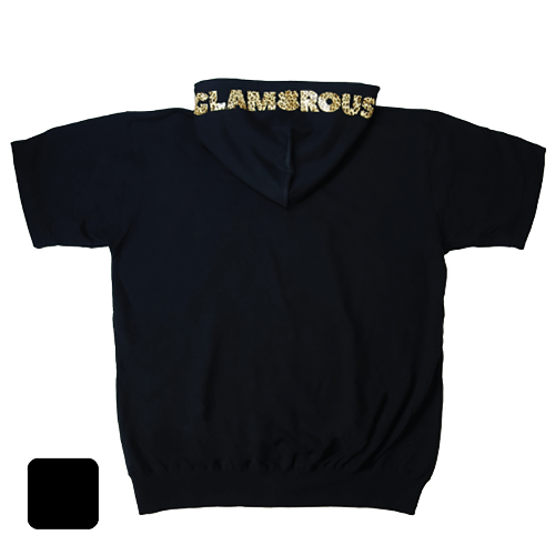 【アウトレット/30%OFF】大きいサイズ メンズ 半袖ジップパーカー レオパード GLAMOROUS ロゴ / ブラック / 4L