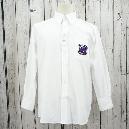 【数量限定】大きいサイズ メンズ オックスフォードシャツ(FACE MIX) ホワイト ベヒモス(ワッペン)/ 4L