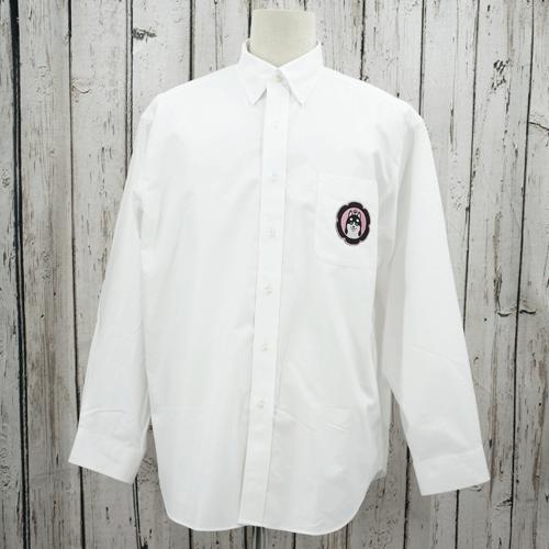 【数量限定】大きいサイズ メンズ オックスフォードシャツ(GUFFY) ホワイト 黒柴(ワッペン)/ 4L