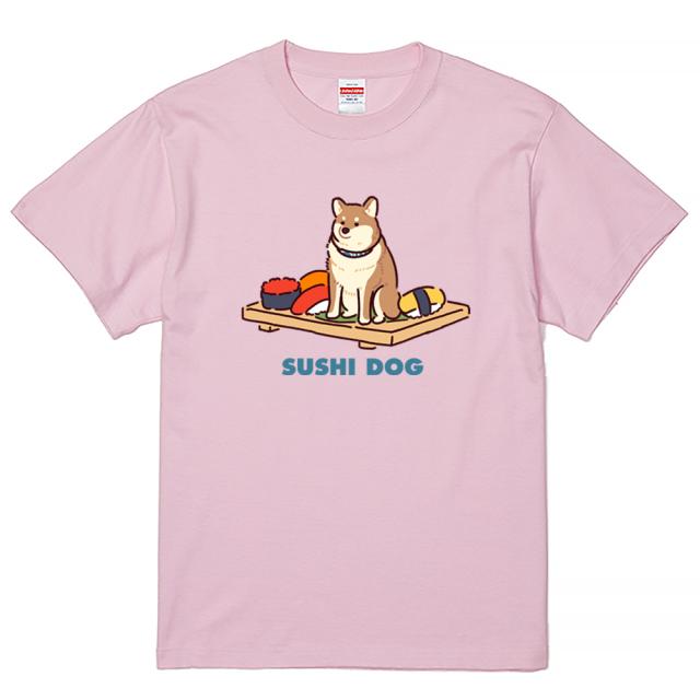 【数量/サイズ限定】Tシャツ 半袖 大きいサイズ 5.6オンス SUSHI DOG/ライトピンク(3XL)/翌日発送可【月野なたまる】