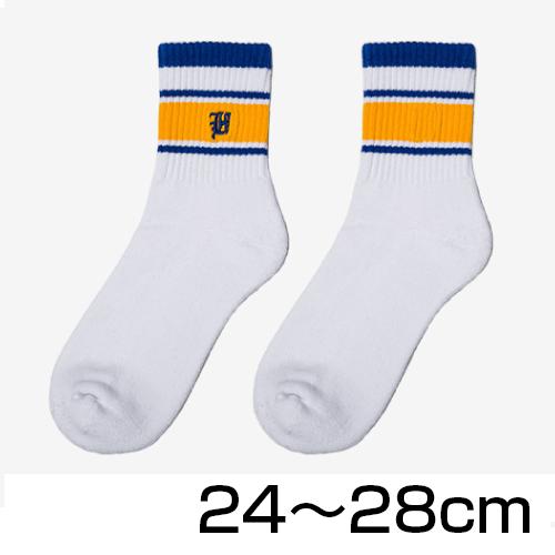 大きいサイズ メンズ 靴下 クルーソックス カレッジ ホワイト×イエロー/ 24-28cm