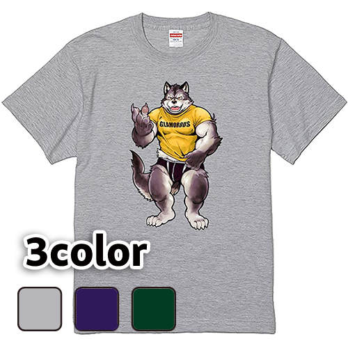 大きいサイズ メンズ Tシャツ 半袖 Tシャツを着る狼 / S M L 2L 3L 4L
