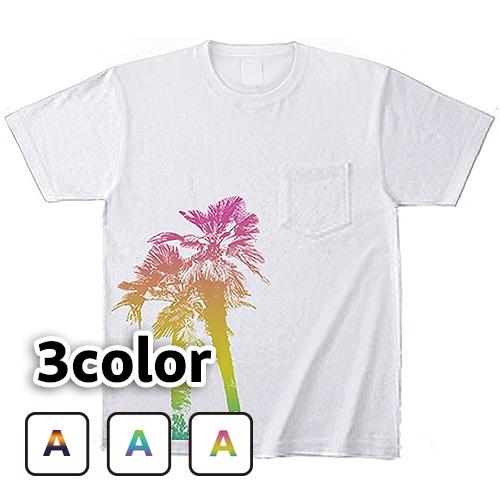 ポケットTシャツ 半袖 大きいサイズ 5.6オンス ヤシの木/L 2L 3L