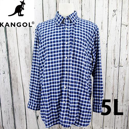 【美品】 KANGOL ロング チェック シャツ 5L USED 古着