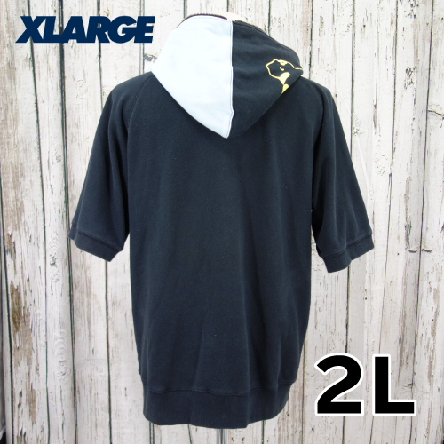 【美品】 X-LARGE 半袖 ジップ パーカー 2L USED 古着